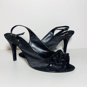 Nina Satin Sequin Ruffle Peep Toe Sling Back Heels